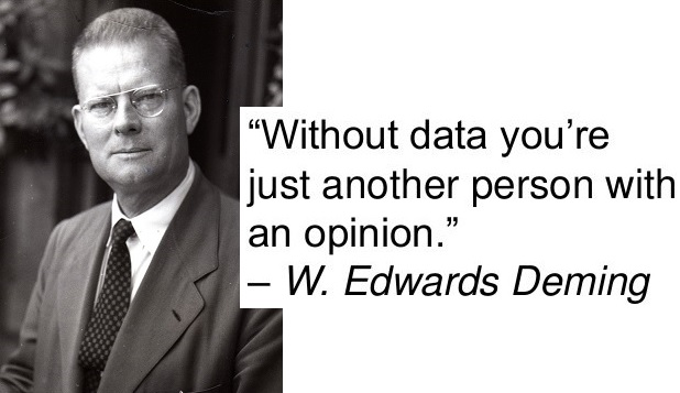 Without data you're another person with an opinion - W. Edwards Deming